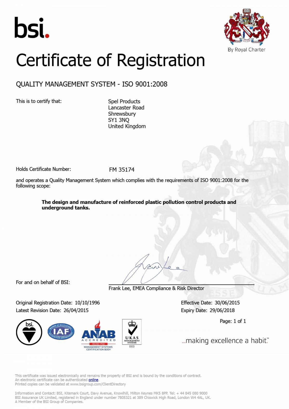 BS EN ISO 9001:2008 design and manufacture